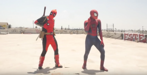 deadpool and spider-man dance-off video