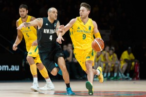 Matthew DELLAVEDOVA of Australia dribbles the ball in game one of the 2015 FIBA Oceania Championships in men's basketball between the Australian Boomers and the New Zealand Tall Blacks at Rod Laver Arena in Melbourne, Australia. Aus def NZ 71-59