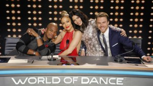 "WORLD OF DANCE -- ""World of Dance"" -- Pictured: (l-r) Ne-Yo, Jennifer Lopez, Jenna Dewan Tatum, Derek Hough -- (Photo by: Trae Patton/NBC)"