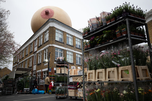 ©2019 Tom Nicholson. 31/03/2019. London, UK. Femtech brand Elvie install five giant boobs across London's skyline to start a social movement to change attitudes around breastfeeding and pumping in public. #freethefeed. Locations around Shoreditch, Hoxton and Columbia Road Flower Market. Photo credit : Tom Nicholson