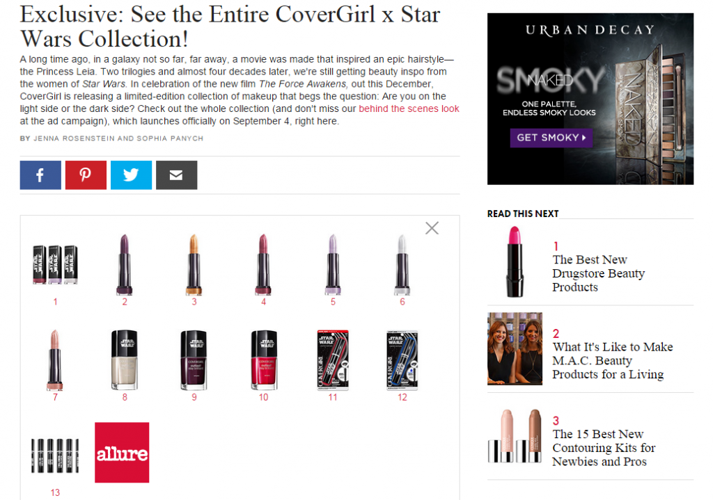 allure covergirl star wars makeup
